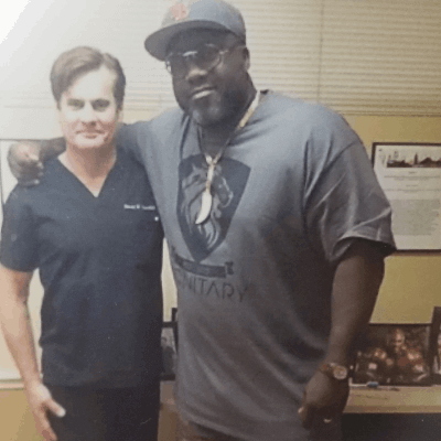 Ian Beckles with Dr. Lox after knee stem cell therapy