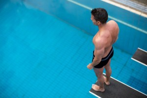 swimmer on diving board
