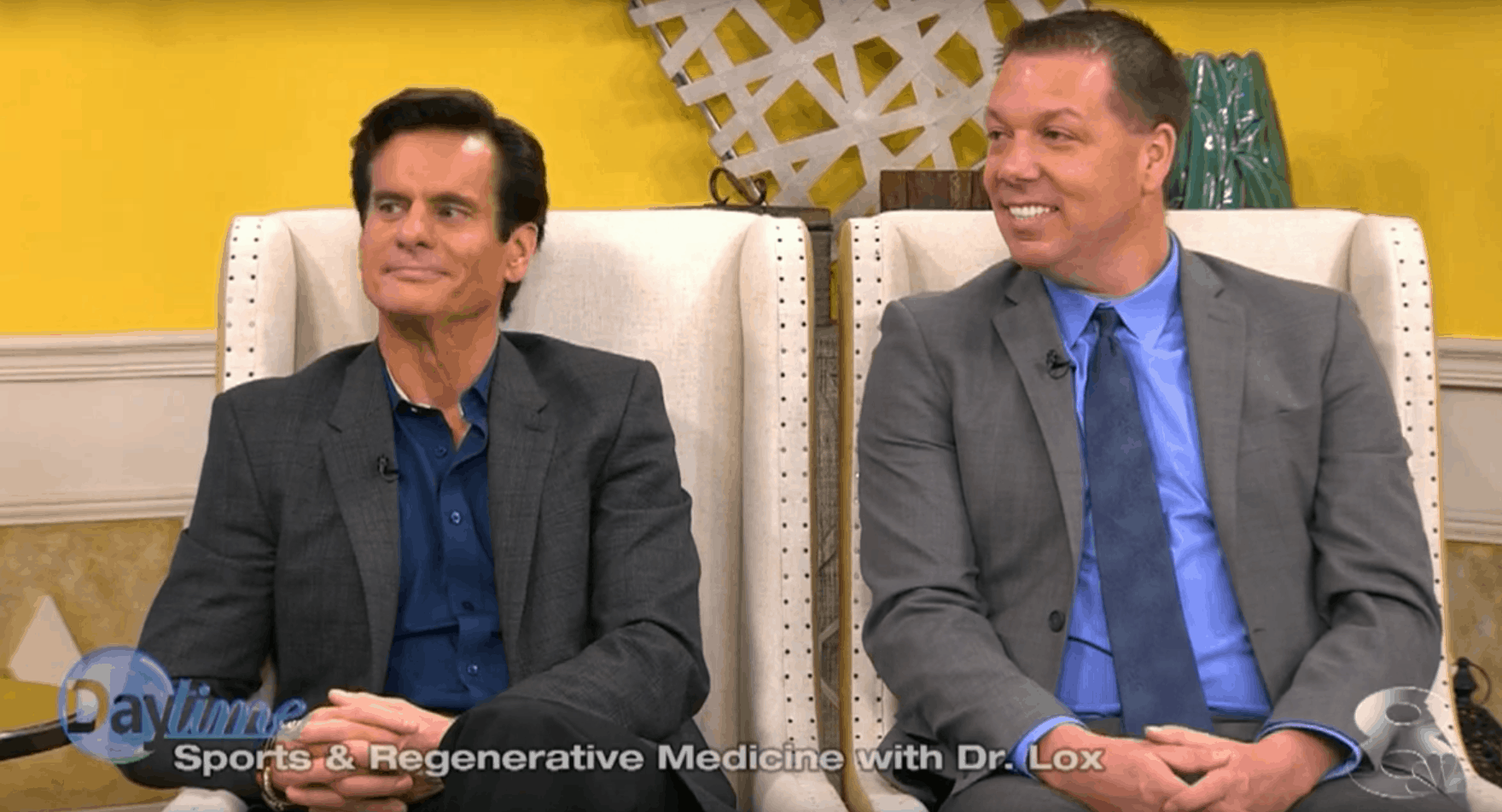 Dr. Lox and Andrew Duncan of the Duncan Duo on NBC Daytime Talking Knee Stem Cells